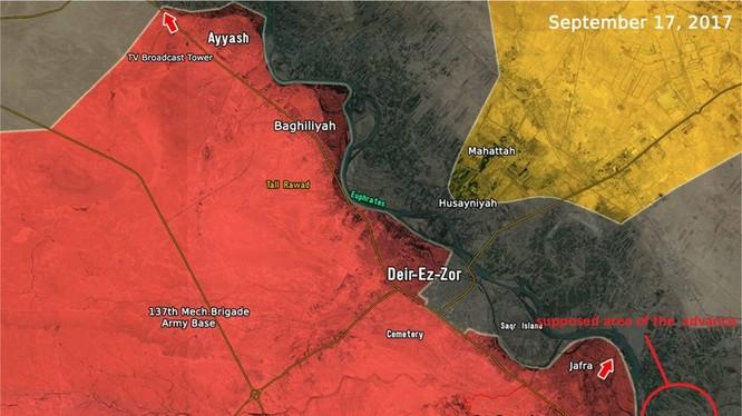 Địa bàn khu vực lực lượng Săn IS vượt sông sang bờ đông Euphrates - ảnh South Front