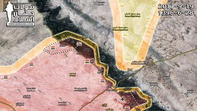 Bản đồ tình hình chiến sự thành phố Deir Ezzor - ảnh Masdar News