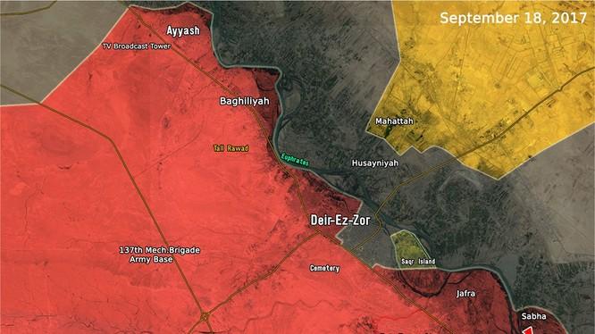Bản đồ tình hình chiến sự Deir Ezzor, quân đội Syria vượt sông Euphrates - ảnh Masdar News