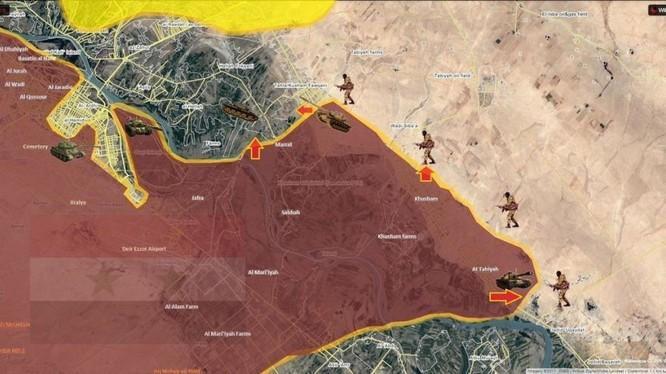 Bản đồ chiến trường khu vực phía đông sông Euphrates quân đội Syria vượt sông tấn công - ảnh South Front