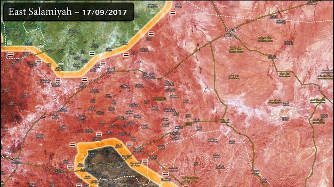 Vùng IS bị bao vây trên bản đồ phía đông tỉnh Homs - Hama - ảnh South Front