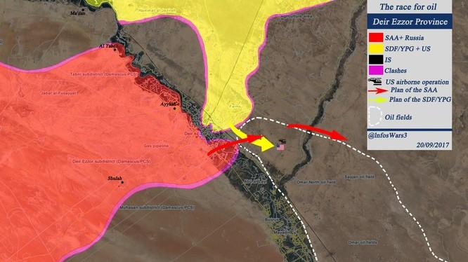 Các mũi tiến công của quân đội Syria và lực lượng SDF được Mỹ hậu thuẫn - ảnh South Front
