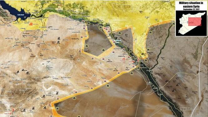 Bản đồ tình hình chiến sự vùng Deir Ezzor - ảnh Masdar News