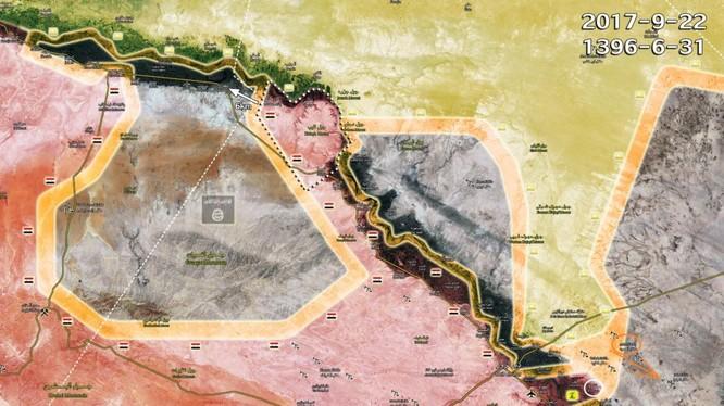 Bản đồ tình hình chiến sự khu vực Deir Ezzor - ảnh South Front