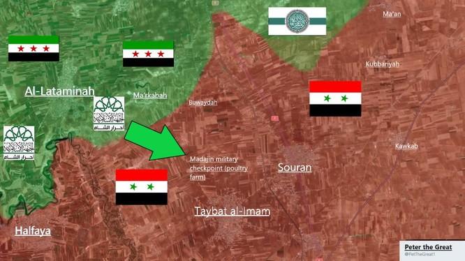 Phân bổ lực lượng Hồi giáo cực đoan trên chiến trường miền bắc Hama - ảnh tài khoản @Peter the Great