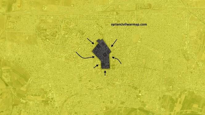Khu vực cuối cùng IS còn tử thủ trên chiến trường Raqqa - ảnh truyền thông người Kurd