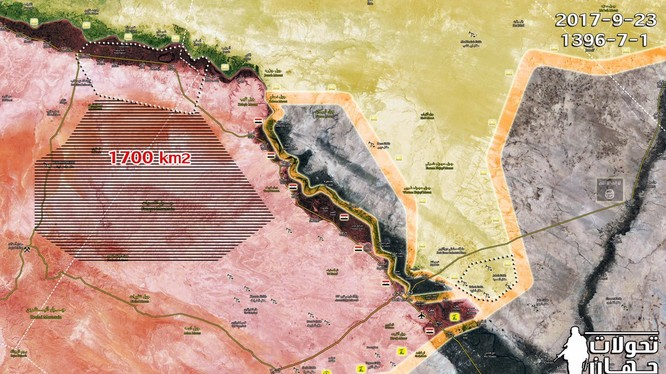 Lực lượng Tiger giải phóng đến 1700 m2 trên vùng sa mạc Raqqa - Deir Ezzor - ảnh Masdar News