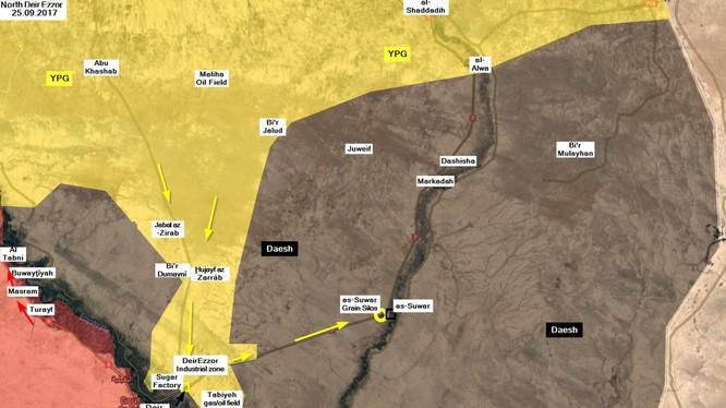 Bản đồ tình hình chiến sự ngày 25.09.2017, lực lượng SDF tiến công trên thung lũng phía đông Euphrates, IS chặn quân đội Syria - ảnh truyền thông người Kurd YPG