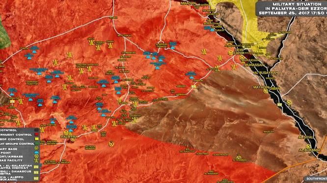 Bản đồ chiến sự Syria, khu vực Deir Ezzor và sông Euphrates tính đến ngày 25.09.2017 theo South Front