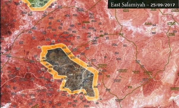 Khu vực bao vây IS còn lại trên chiến trường Homs - Hama - ảnh Masdar News