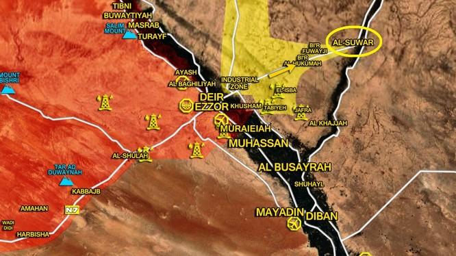 Bản đồ chiến sự Deir Ezzor, SDF tiến công mở rộng đến làng Al-Suwar, IS không kháng cự - ảnh South Front