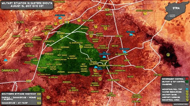 Chiến trường khu vực Đông Ghouta không có biến động lớn trong 2 tuần qua, cho thấy quân đội Syria không có tiến bộ nào đáng kể trong khu vực