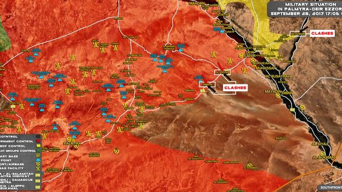 bản đồ tình hình chiến sự Deir Ezzor, IS tiến công cắt đứt tuyến đường tiếp vận chiến lược Palmyra - Deir Ezzor