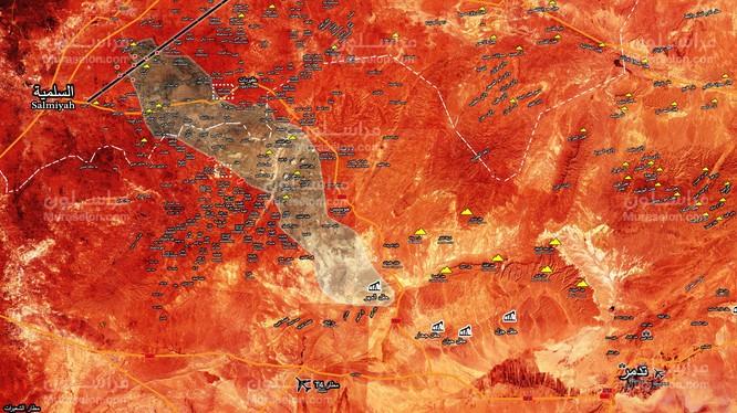 Bàn đồ chiến sự vùng sa mạc tỉnh Homs, Hama, thị trấn Soha vừa giải phóng - ảnh Muraselon
