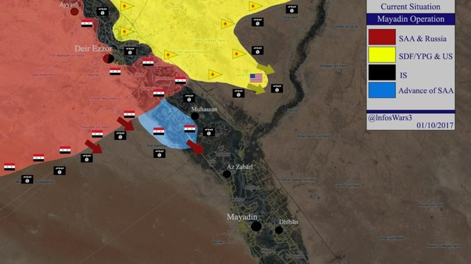 Lực lượng Tiger tiến công về hướng thành phố Al - Mayadeen, phía nam Deir Ezzor - bản đồ South Front