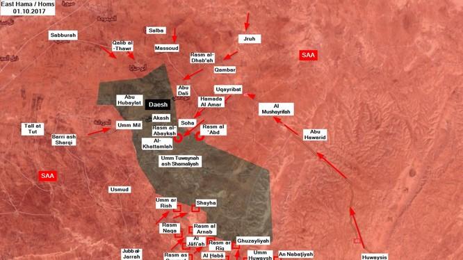 Các mũi tiến công của quân đội Syria trong vòng vây Hama, Homs - ảnh South Front