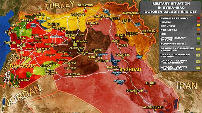 Bản đồ tình hình chiến sự Syria- iraq tính đến ngày 02.10.2017 theo South Front