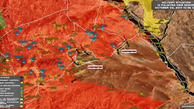 Toàn cảnh chiến trường Palmyra - Deir Ezzor tính đến ngày 02.10.2017 theo South Front