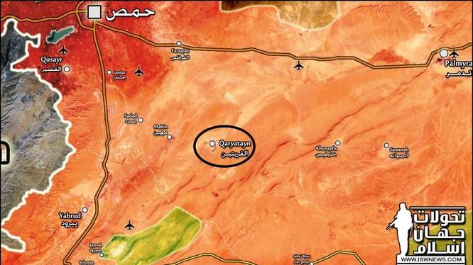 Thị trấn Al-Qaryatayn nằm sâu trong vùng sa mạc tỉnh Homs - bản đồ trang Muraselon