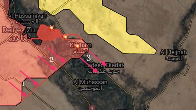 Các mũi tiến công của quân đội Syria dọc theo sông Euphrates - ảnh South Front