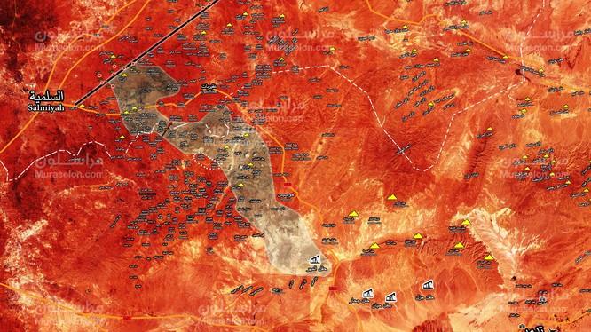 Bản đồ cuộc tấn công của quân đội Syria trên vùng nông thôn tỉnh Homs, Hama theo Muraselon