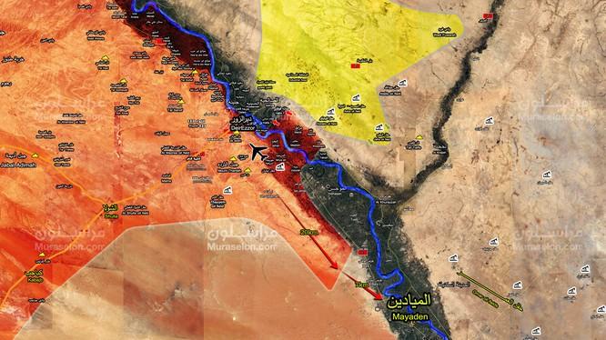 Mũi tiến công của lực lượng Tiger trên vùng nông thôn ven bờ Euphrates - ảnh Muraselon