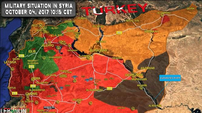 Bản đồ chiến trường Syria tính đến ngày 04.10.2017 theo South Front
