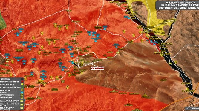 Bản đồ tình hình chiến sự khu vực sa mạc trung tâm tỉnh Homs tính đến ngày 05.10.2017 theo South Front