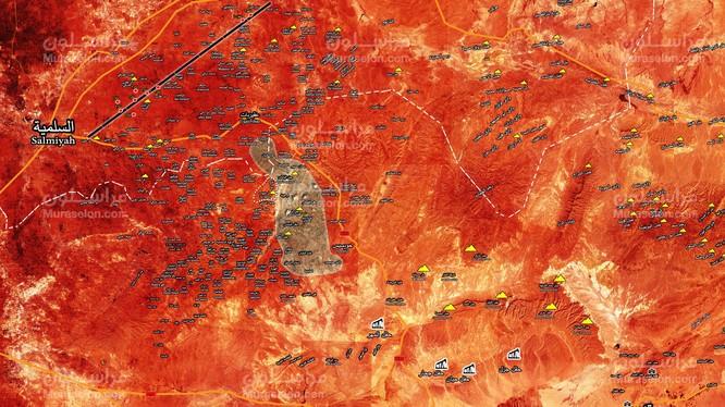 Quân đội Syria giải phóng 2 địa bàn dân cư trong khu vực bao vây IS hướng đông thành phố Salamiyah vùng sa mạc phía đông tỉnh Homs ảnh Muraselon