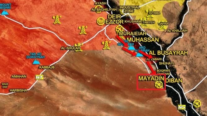 Quân đội Syria tấn công về thành phố Al-Mayadeen trên bờ sông EUphrater - bản đồ tSouth Front