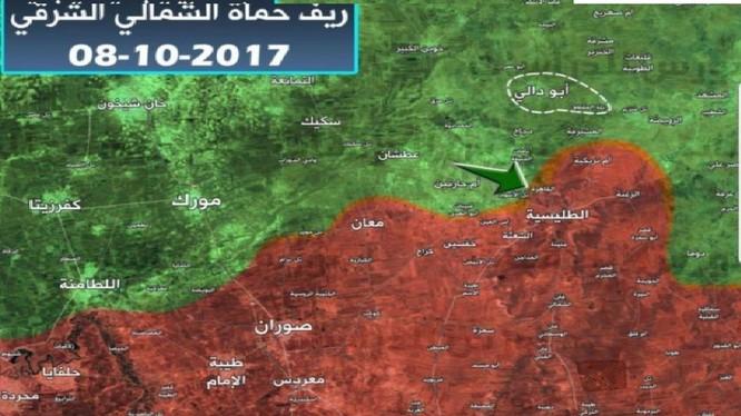 Bản đồ chiến sự phía bắc Hama, nhóm HTS đánh chiếm 1 làng của quân đội Syria - ảnh truyền thông khủng bố HTS