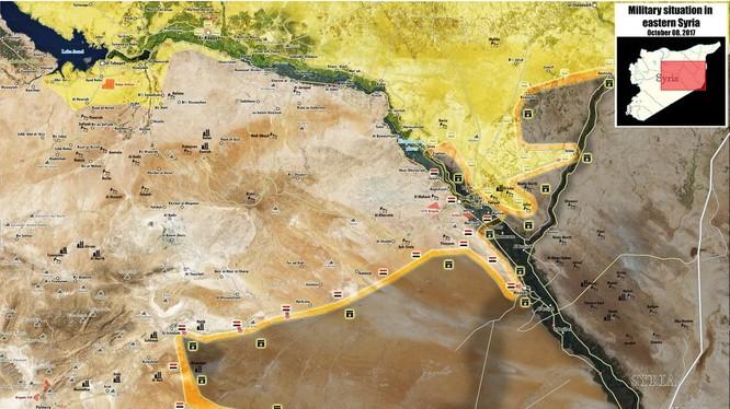 Bản đồ tình hình chiến sự Deir Ezzor tính đến ngày 09.10.2017 theo South Front