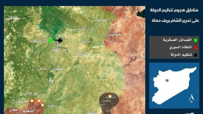 Bản đồ vụ mở đường máu của lực lượng IS, bị bao vây trên chiến trường phía đông Hama, Homs - ảnh South Front