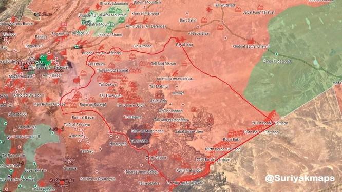 Quân đội Syria giải phóng hơn 8000 km2 lãnh thổ biên giới sát với Jordan - ảnh Alalam.ir