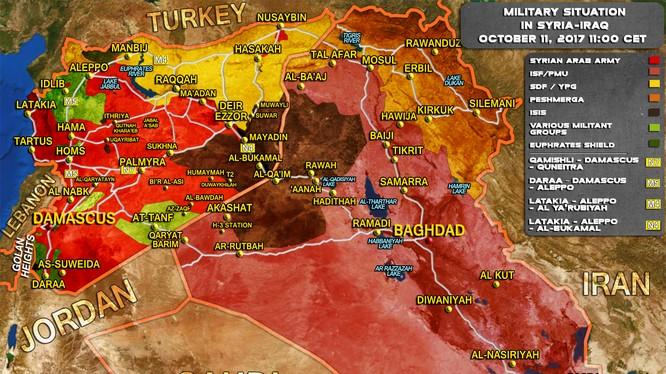 Tổng quan tình hình chiến sự Syria tính đến ngày 11.10.2017 theo South Front