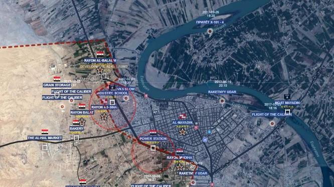 Bản đồ cuộc tấn công của quân đội Syria đánh vào thành phố Al-Mayadeen - ảnh Muraselon