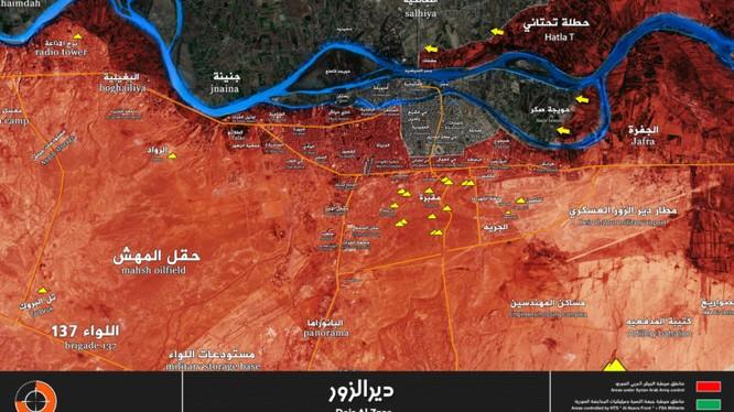 Các mũi tiến công của quân đội Syria trong thành phố Deir Ezzor - ảnh Muraselon