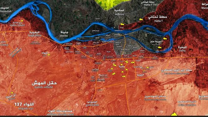 Bản đồ tình hình chiến sự thành phố Deir Ezzor theo Muraselon