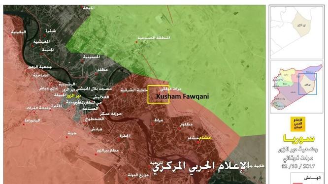 Khu vực quân đội Syria giành được từ IS bên bờ đông Eupharates - ảnh Hezbollah