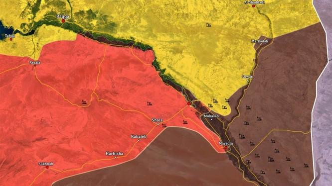Bản đồ tình hình chiến trường phía đông tỉnh Homs và Deir Ezzor - ảnh South Front