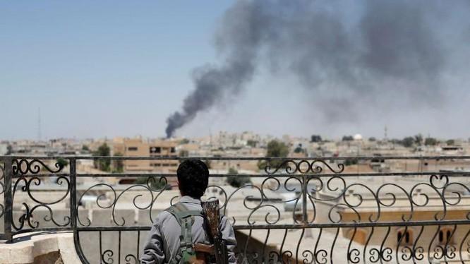 Thành phố Raqqa trong chiến tranh - ảnh minh họa của Masdar News