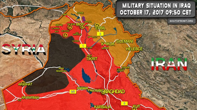 Tình hình phân bổ lực lượng đối kháng ở Iraq - ảnh South Front