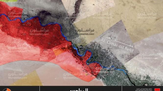 Toàn bộ vùng thung lũng phía tây sông Euphrates giải phóng, quân đội Syria chuẩn bị tiến công mỏ dầu Omar - ảnh Muraselon