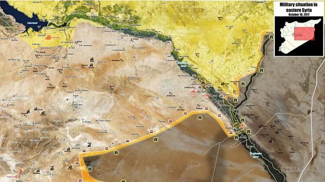 Bàn đồ chiến sự khu vực tỉnh Homs, Deir Ezzor, quân đội Syria tiến công sang bờ đông sông Euphrates - ảnh South Front