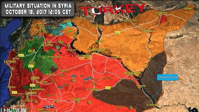 Bản đồ tình hình chiến sự Syria khu vực phía đông tỉnh Homs và Deir Ezzor - ảnh South Front