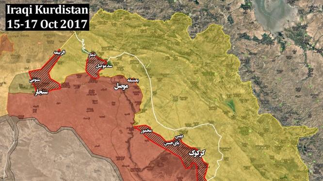 Bản đồ khu vực lực lượng vũ trang Iraq tiến chiếm từ các đơn vị Peshmerga - ảnh South Front