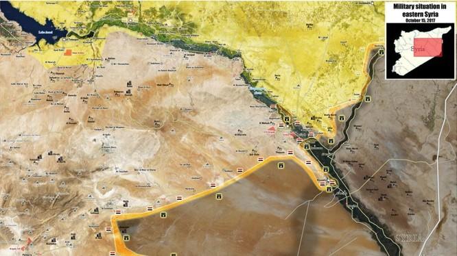 Bản đồ phân bổ lực lương các bên tham chiến trên chiến trường Deir Ezzor