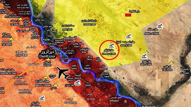 Vị trí khu mỏ khí gas Koneko trong vùng kiểm soát của lực lượng SDF - ảnh Muraselon