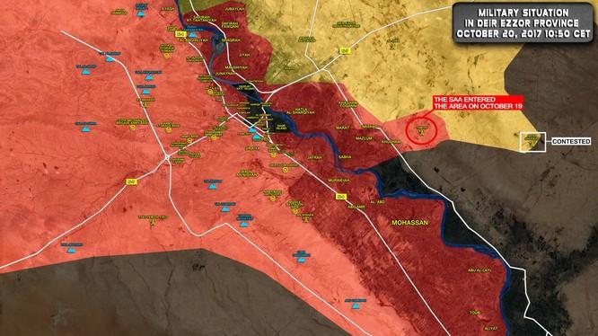 Bản đồ tình hình chiến sự thành phố Deir Ezzor tính đến ngày 20.10.2017 theo South Front
