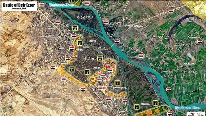 Hình thái chiến trường khu vực thành phố Deir Ezzor theo South Front